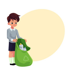 Boy holding green bag of plastic bottles garbage vector