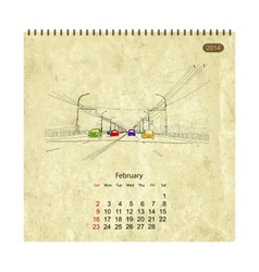 Calendar 2014 february Streets of the city sketch vector image