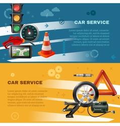 Car maintenance horizontal banners vector