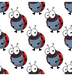 Cartoon ladybugs seamless pattern background vector