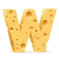 cheese font w letter on white vector image vector image