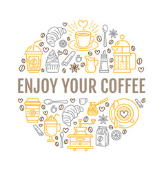 Coffee making poster template brewing line vector