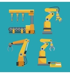 Collection automated robotic industrial equipment vector