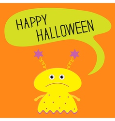 Cute yellow monster with speech text bubble vector