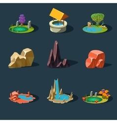 Elements landscape rocks water well waterfall vector