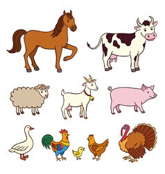 Farm animals in cartoon style vector image