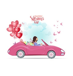 fashion young woman in a car with gifts and red vector image