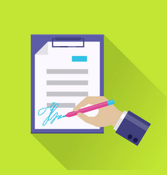 flat document signing icon vector image vector image