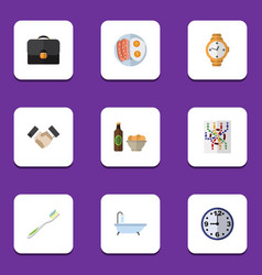 Flat icon oneday set of timer router partnership vector