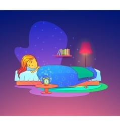 Girl or woman sleeping dreaming in bed vector