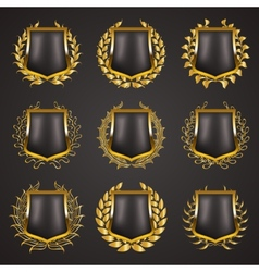 Golden shields with laurel wreath vector image vector image