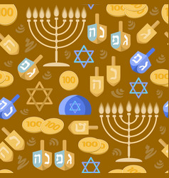 Hanukkah seamless pattern jewish holiday vector