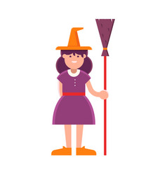 happy halloween witch girl vector image vector image