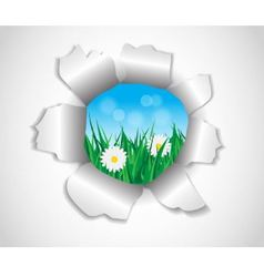 hole in the paper which grass and flowers vector image