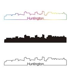 Huntington skyline linear style with rainbow vector
