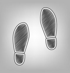 Imprint soles shoes sign pencil sketch vector