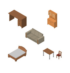 Isometric furnishing set of table cupboard vector