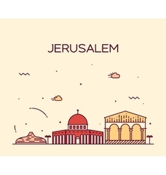 Jerusalem skyline trendy linear style vector