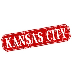 Kansas city red square grunge retro style sign vector