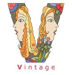 Letter v vintage vector