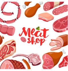 Meat frame with logo fresh meat icon vector