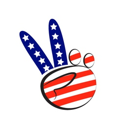 Peace symbol hand with USA flag logo vector image vector image