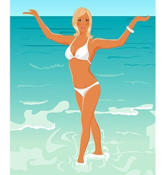 pretty blond girl on beach vector image