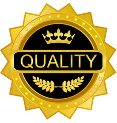 quality gold badge vector image