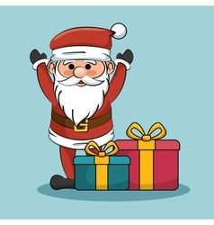santa claus with gift boxes christmas design vector image vector image
