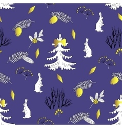 Seamless pattern with christmas forest vector