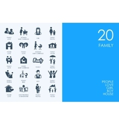 Set of blue hamster library family icons vector