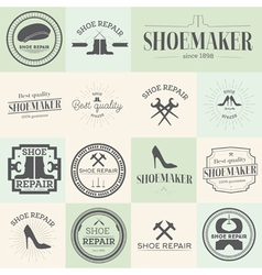 Set of vintage shoes repair and shoemaker labels vector