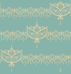 sketch of endless stripes with lotus flower in vector image vector image
