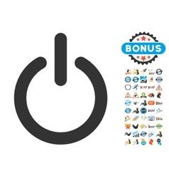 Turn off icon with 2017 year bonus symbols vector
