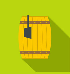 Wooden barrel with ladle icon flat style vector