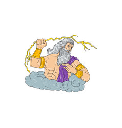 Zeus wielding thunderbolt lightning drawing vector