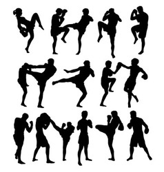 Boxing activity sport silhouettes vector