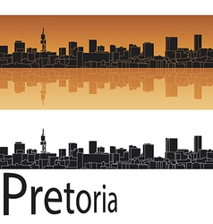 Pretoria skyline in orange background vector