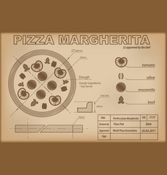 Pizza margherita ingredients draw scheme vector