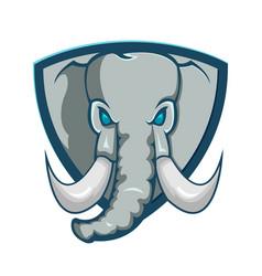Elephant shield logo cartoon symbol vector