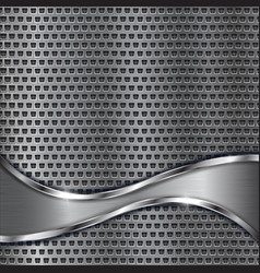 Metal perforated background with brushed stainless vector