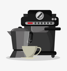 Coffee espresso machine with metallic jar with vector