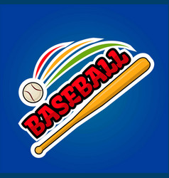 Baseball logo design with moving ball and wooden vector
