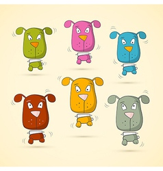 Colorful Dogs Set vector image