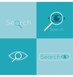 Icon eyes with a magnifying glass logo search vector
