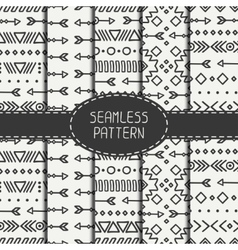 Set of hand drawn geometric ethnic seamless vector image