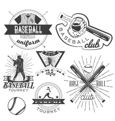 set of baseball labels in vintage style vector image