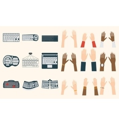 Keyboard hands set vector