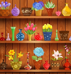 Rustic interior with glass vases and flowers vector