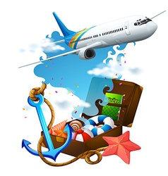 Airplane flying and suitcase vector